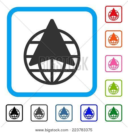 Global Freelance icon. Flat gray pictogram symbol in a blue rounded frame. Black, gray, green, blue, red, orange color versions of global freelance vector. Designed for web and software UI.