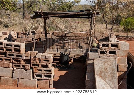 African kitchen in the back of the house in the village, Botswana