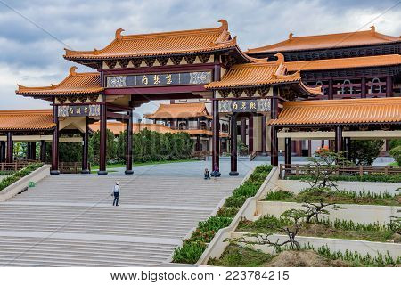 KAOHSIUNG, TAIWAN - NOVEMBER 23: This is a view of Fo Guang Shan memorial center a large buddhist monaster located in Kaohsiung on November 23, 2016 in Kaohsiung