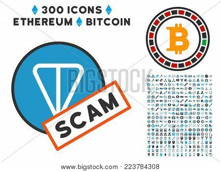 Ton Scam Label icon with 3 hundred bonus bitcoin clip art. Vector illustration style is flat iconic symbols designed for bitcoin apps.