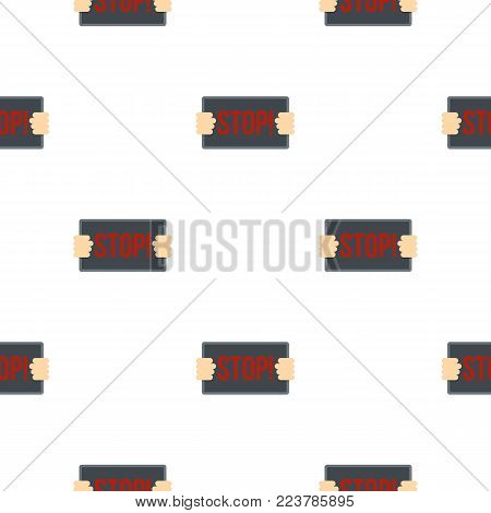 Hands holding stop placard pattern seamless for any design vector illustration
