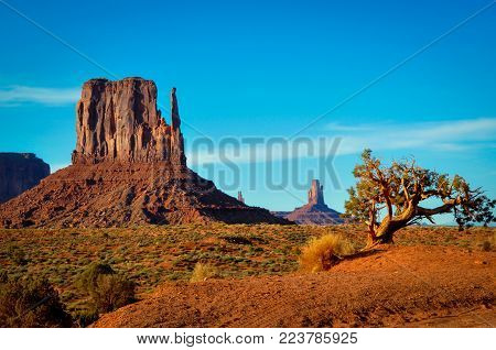 West Mitten Butte in Monument Valley Navajo Tribal Reserve