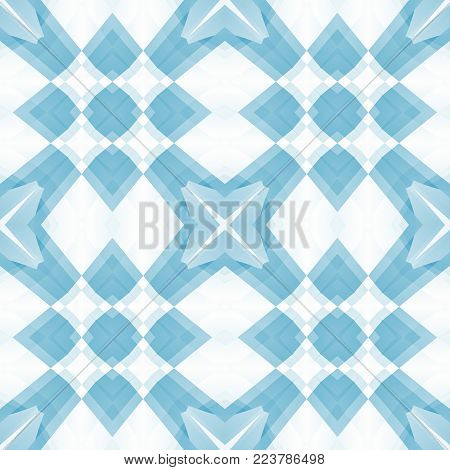 Blue white gentle abstract texture. Elegant background illustration. Textile print pattern. Square seamless tile. Home decor fabric design sample. Tileable motif for pillows, cushions, tablecloths