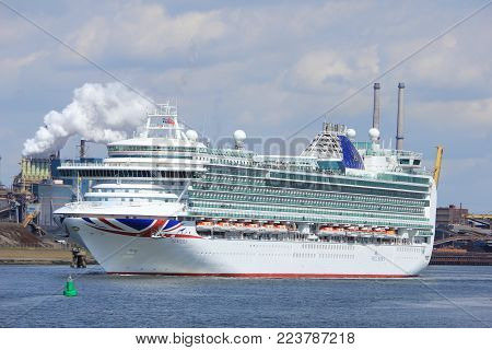 IJmuiden, the Netherlands -April 29th, 2017:   Ventura P & O Cruises near North Sea gateway