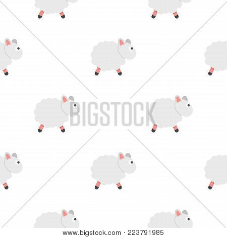 White sheep pattern seamless for any design vector illustration