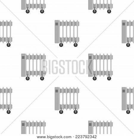 White electric heater on wheels pattern seamless for any design vector illustration