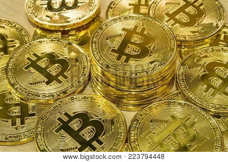 Physical Bitcoin Pile Background , Bitcoin Mining