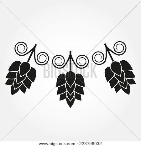 Hops flowers or strobiles. Hop beer sign. Vector illustration.