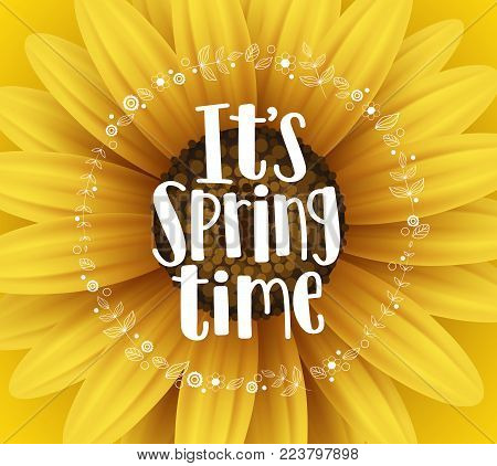 It's spring time vector banner design with typography text and flower elements in yellow sunflower background for spring season greetings. Vector illustration.