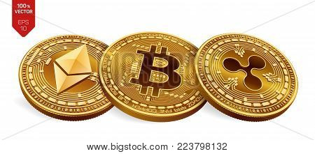 Bitcoin. Ripple. Ethereum. 3D isometric Physical coins. Digital currency. Crypto currency. Golden coins with bitcoin, ripple and ethereum symbol on white background. Vector illustration