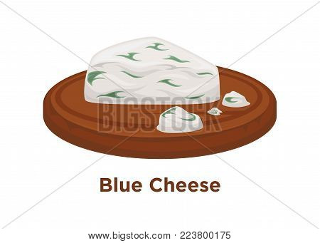 Exquisite expensive blue cheese triangular piece on smooth round wooden tray. Delicious salty soft cheese with mold of fat cow milk isolated cartoon flat vector illustration on white background.