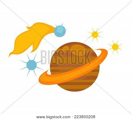 Saturn with big belt surrounded with stars and meteor that flies and leaves flame trace isolated cartoon flat vector illustrations set on white background. Cosmic bodies and planet made of gases.