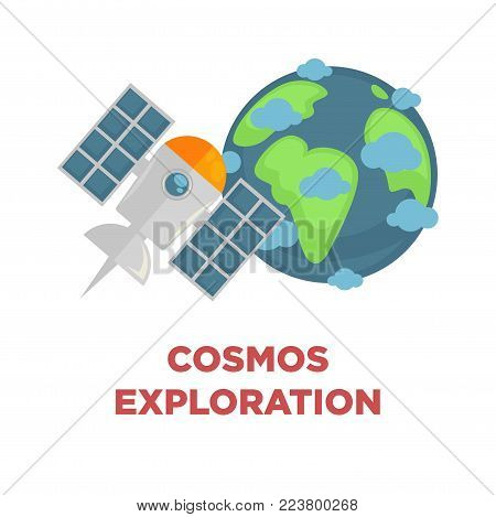 Cosmos exploration scientific promotional poster with Earth globe and satellite that works on solar batteries and flies at orbit isolated cartoon flat vector illustration on white background.
