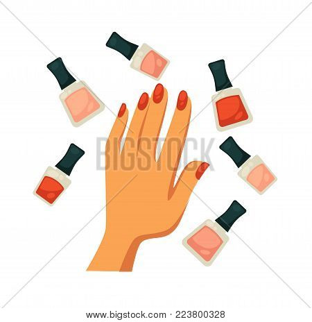 Glass bottles of tender nude and classic red gel nail polishes with female palm that has neat bright manicure of oval shape in middle isolated cartoon flat vector illustrations on white background.