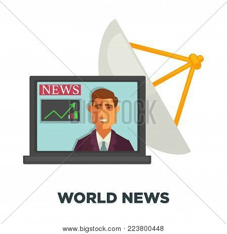 World news in wide screen of open laptop with information about economy where male host shows chart and powerful satellite dish isolated cartoon flat vector illustration on white background.