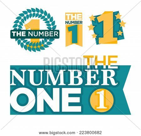 Number one emblems set with stars and ribbons around big numeral isolated cartoon vector illustrations on white background. Honorary distinctive sign for best and outstanding people and achievements.