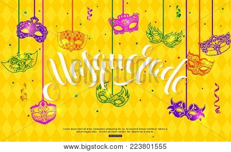 Mardi Gras banner design with hanging carnival mask confetti and serpentine on yellow background vector illustration