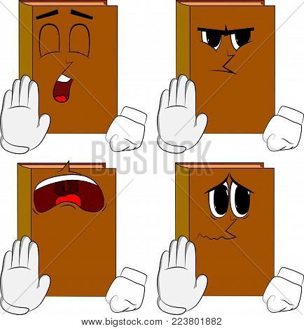 Books showing deny or refuse hand gesture. Cartoon book collection with sad faces. Expressions vector set.