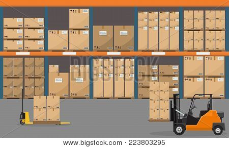 Warehouse interior with goods, pallet trucks and container package boxes. Flat and solid color vector illustration.