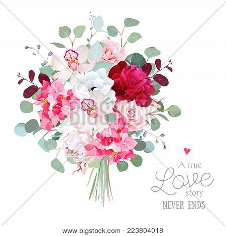 Watercolor style flowers bouquet. White and burgundy red peony, rose, orchid, anemone, pink hydrangea, silver dollar eucalyptus. Vector greenery illustration for simple, natural chic wedding design.