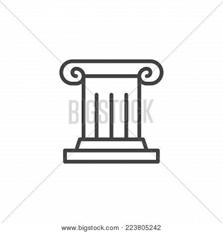 Antique column line icon, outline vector sign, linear style pictogram isolated on white. Pillar, Ionic column symbol, logo illustration. Editable stroke