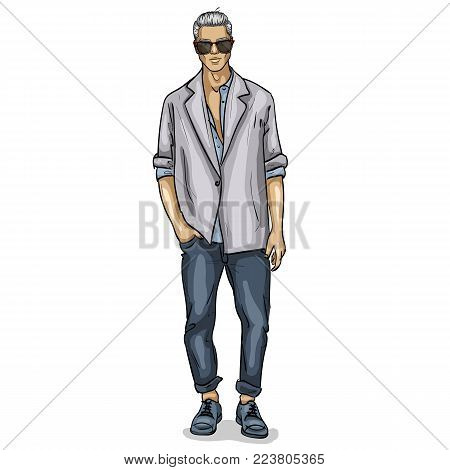 Vector man model dressed in jeans, shirt, linen jacket and sneakers