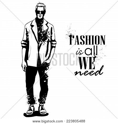 Vector man model dressed in jeans, shirt, linen jacket and sneakers, splash stile. Fashion is all we need