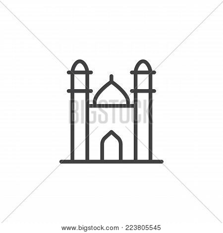 Mosque with minaret towers line icon, outline vector sign, linear style pictogram isolated on white. Islamic mosque building symbol, logo illustration. Editable stroke