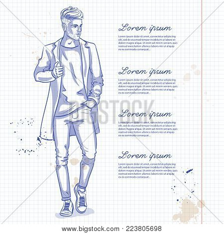 Vector man model dressed in jeans, t-shirt, sneakers and jacket on a notebook page