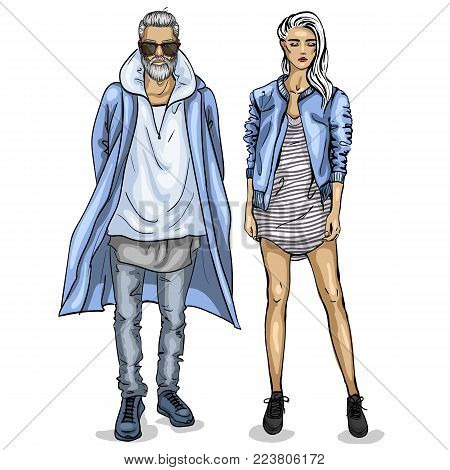 Vector woman and man models dressed in hipster style, outfit