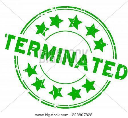 Grunge green terminated with star icon round rubber seal stamp on white background