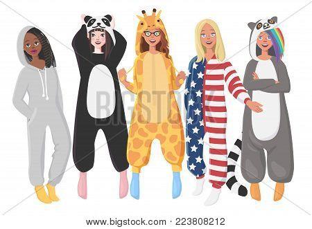 Women's Plush One-Piece Pajamas. Hooded Onesie Giraffe, Panda, American Flag, Lemur. Onesies for Women. Girls in Pajamas, Nightwear, Loungewear.