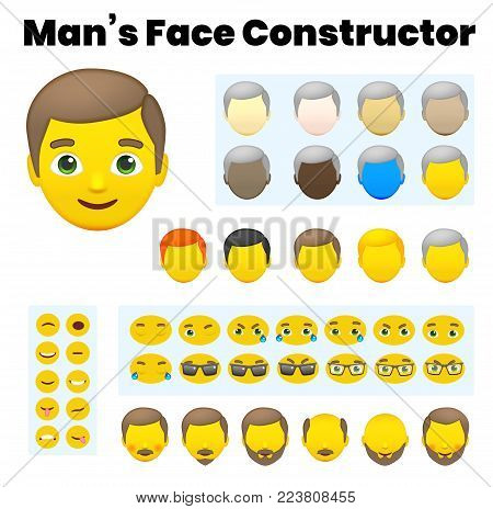 Man's Emoji Character Constructor. From Hipster to Grandfather. Cartoon Man's Face Parts, Creation Spare Parts. Emoji Style Faces. Vector Illustration poster