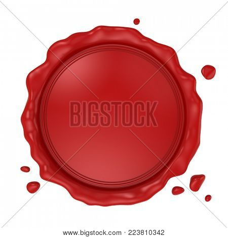 Blank red wax seal isolated on white background. 3d rendering.