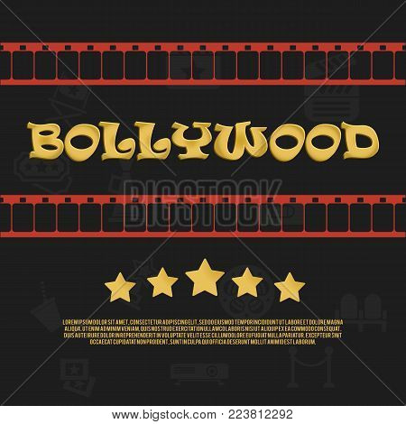 Bollywood Cinema logo icon with film strip and star elements. Abstract golden design template vector illustration
