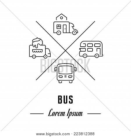 Vector logo bus. Hipster emblem, label or banner for bus. Line sign with elements. Concept brand.