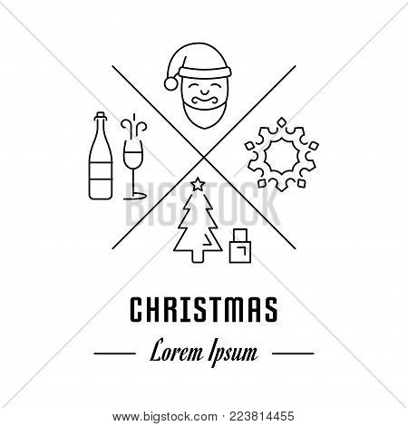 Vector logo christmas. Hipster emblem, label or banner for christmas. Line sign with elements. Concept brand.