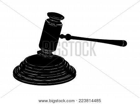 Black Judge Hammer On A White Background