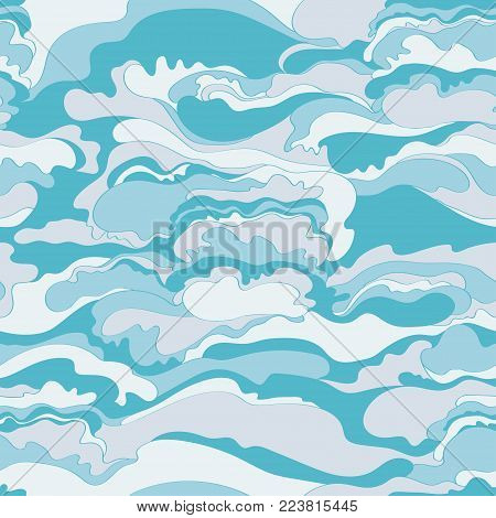 Pattern with the image of the cream texture of light blue and white shades. Abstract background