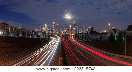 Panorama of Atlanta city night skyline, Georgia, USA