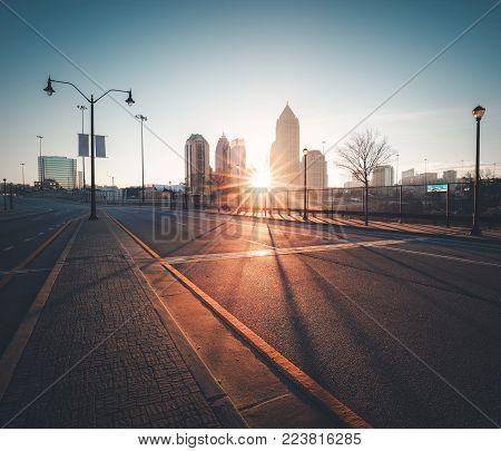 Modern city skyline at sunrise. Atlanta, GA, USA