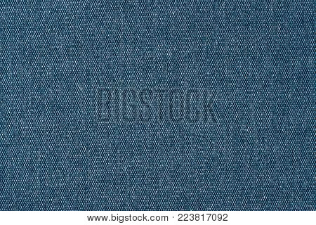 Blue fabric texture. Abstract background, empty template.