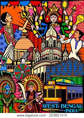 Vector design of colorful culutral display of State  West Bengal in India