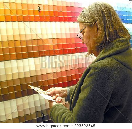 Mature female looking at paint samples inside a hardware store.