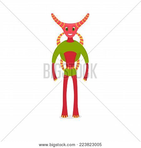Pink smiling aliens. Vector cartoon illustration on white background. Cute cartoon character with a newcomer with tentacles. Children's monster ghost.