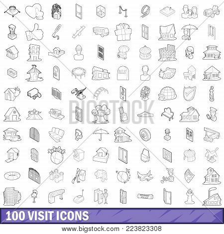 100 visit icons set in outline style for any design vector illustration