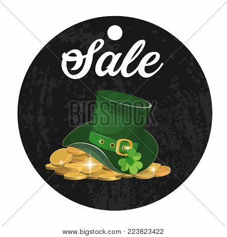 St. Patrick's day green hat with clover sale. Stock vector.