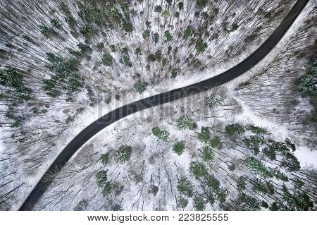 Winter Aerial View Of Road In Forest.