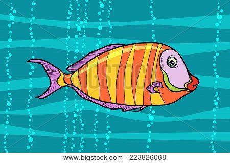cichlid aquarium fish. Pop art retro vector illustration