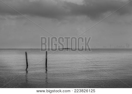 The seascape with black and white theme.